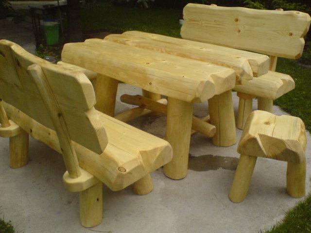 meble góralskie z bali drewnianych komplet mebli biesiadnych z litego